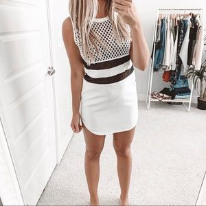 Endless Rose Varsity White Mesh Leather Dress